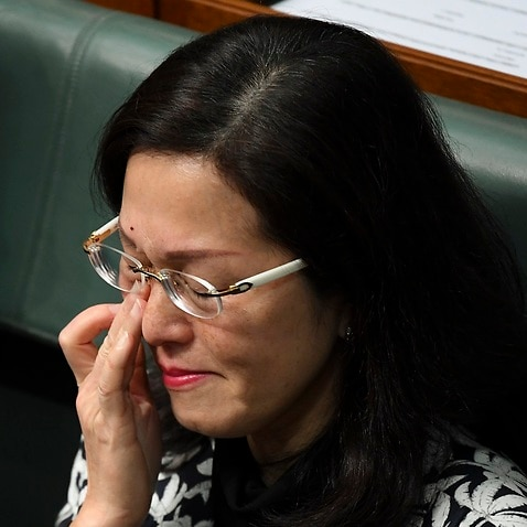Liberal member for Chisholm Gladys Liu reacts in the House of Representatives on Thursday.