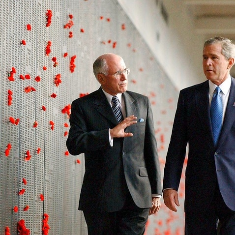 A Oct. 23, 2003 file photo of United States President George W Bush with then Australian PM John Howard