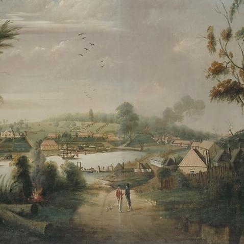 Thomas Watling, nördliche Sicht auf Sydney Cove 1794, State Library of NSW