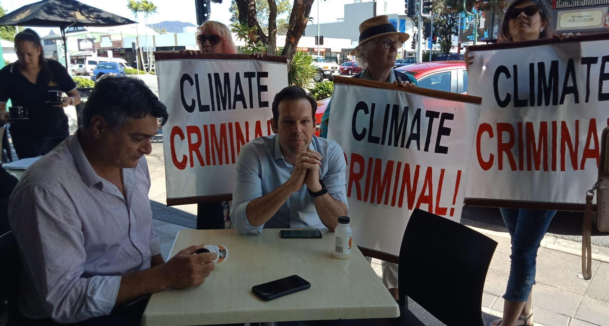 Resources Minister Matt Canavan's juice break is cut short.