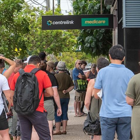 Australians queue at Centrelink during covid-19 pandemic.