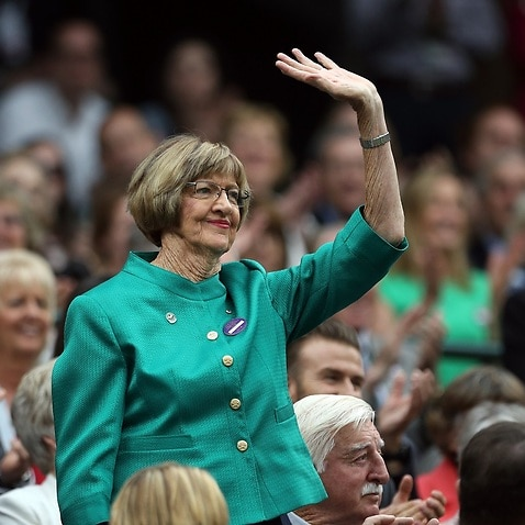 Margaret Court on day six of the Wimbledon Championships at the All England Lawn Tennis and Croquet Club, Wimbledon, 2016.