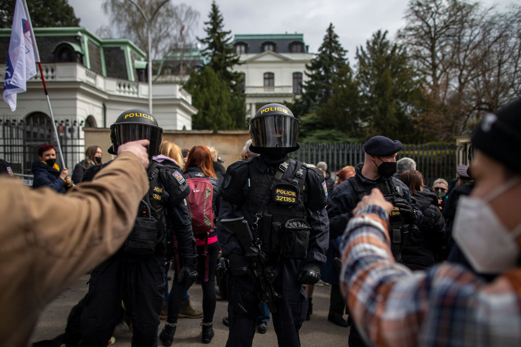 People gather to protest outside the Russian Embassy in Prague, Czech Republic