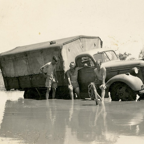 A truck bogged down on its way to Darwin in 1942