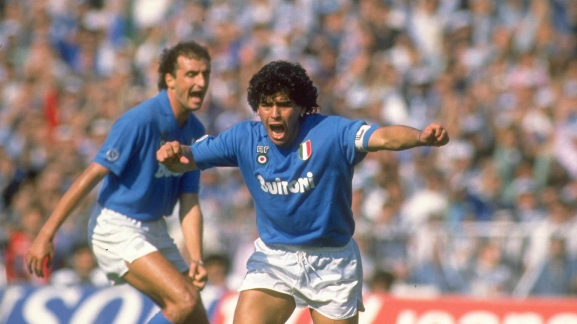 Maradona celebrates with the jersey of Napoli