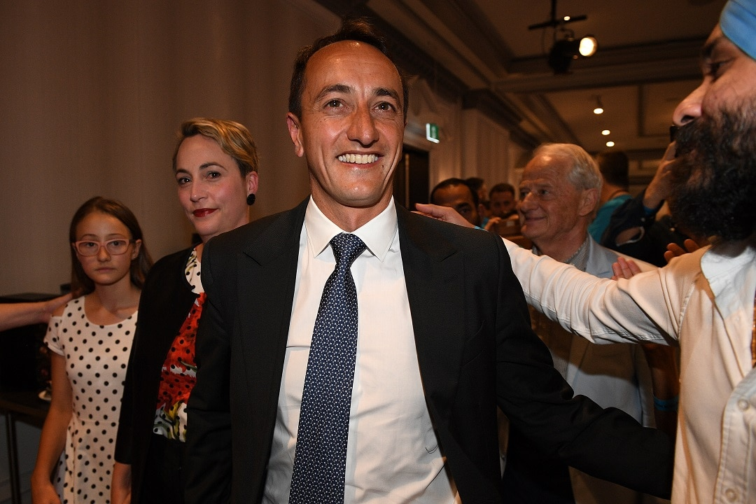 Liberal candidate Dave Sharma arrives at the Liberal Party election function in Double Bay before conceding defeat.