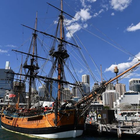 A replica of Captain Cook's ship Endeavour at the Australian National Maritime Museum in Sydney.