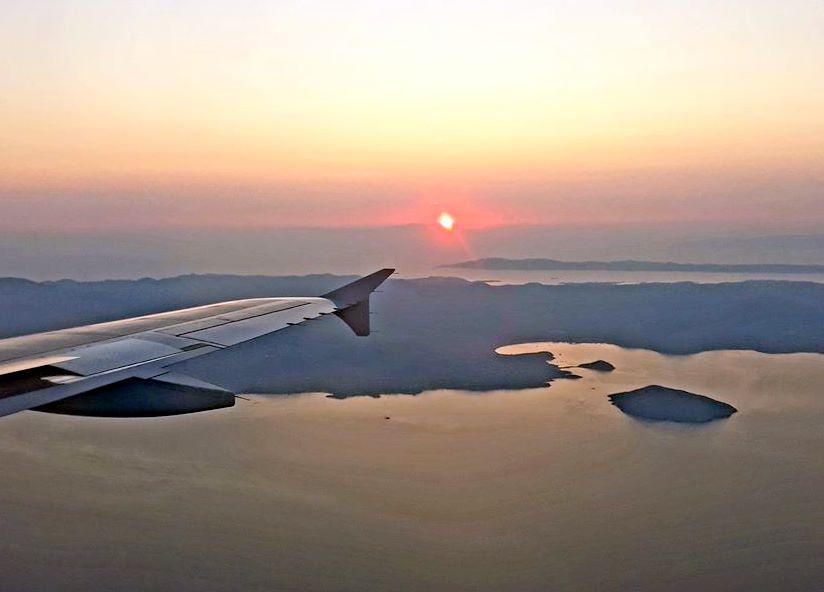 Flight over an island in the Aegean Sea.