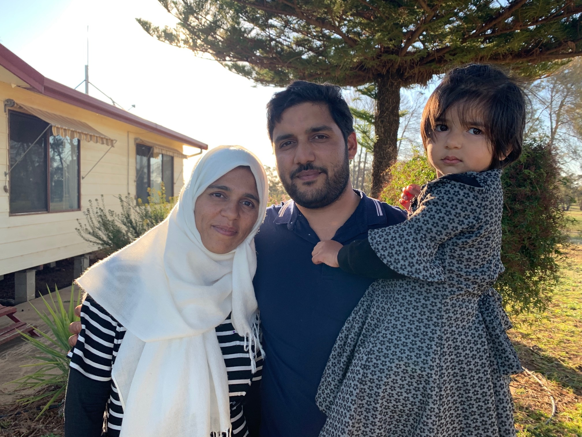 Ali Hussein, wife Ayesha and their daughter Durre are living in Leeton, NSW, after moving from Perth.