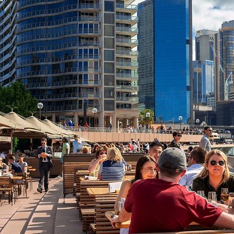 Bars and restaurants in the promenade Circular Quay next to the Opera House in Sydney, Australia (Photo by Sergi Reboredo/Sipa USA)