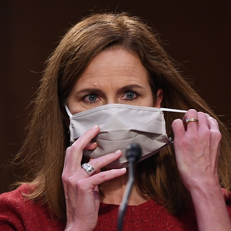 Judge Amy Coney Barrett before the Senate Judiciary Committee on day two of her confirmation hearings.