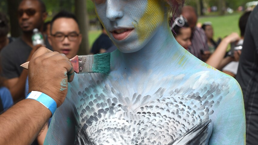 New Yorkers get naked and painted in a celebration of the