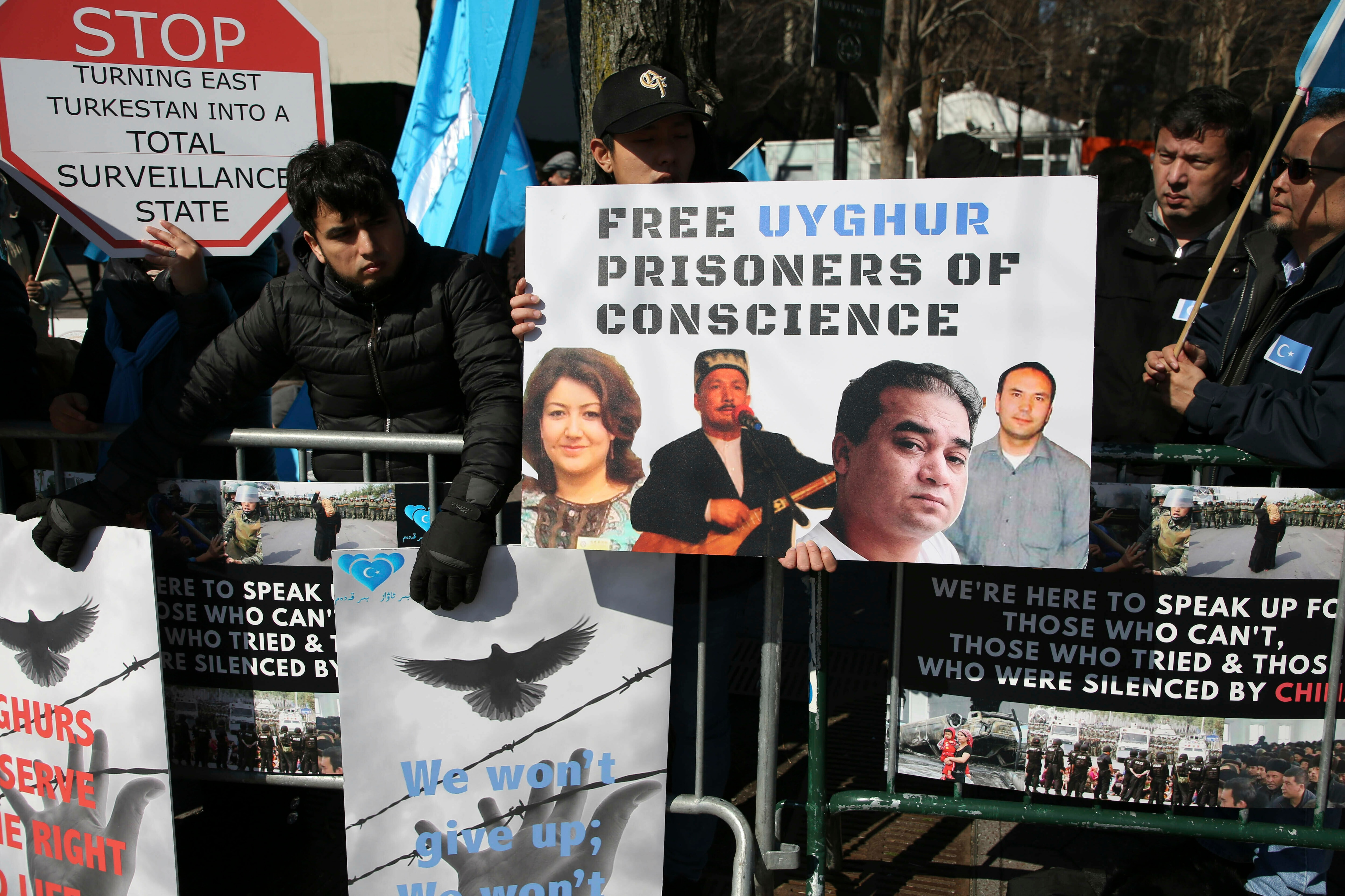 Uighurs rally across the street from United Nations headquarters in New York.