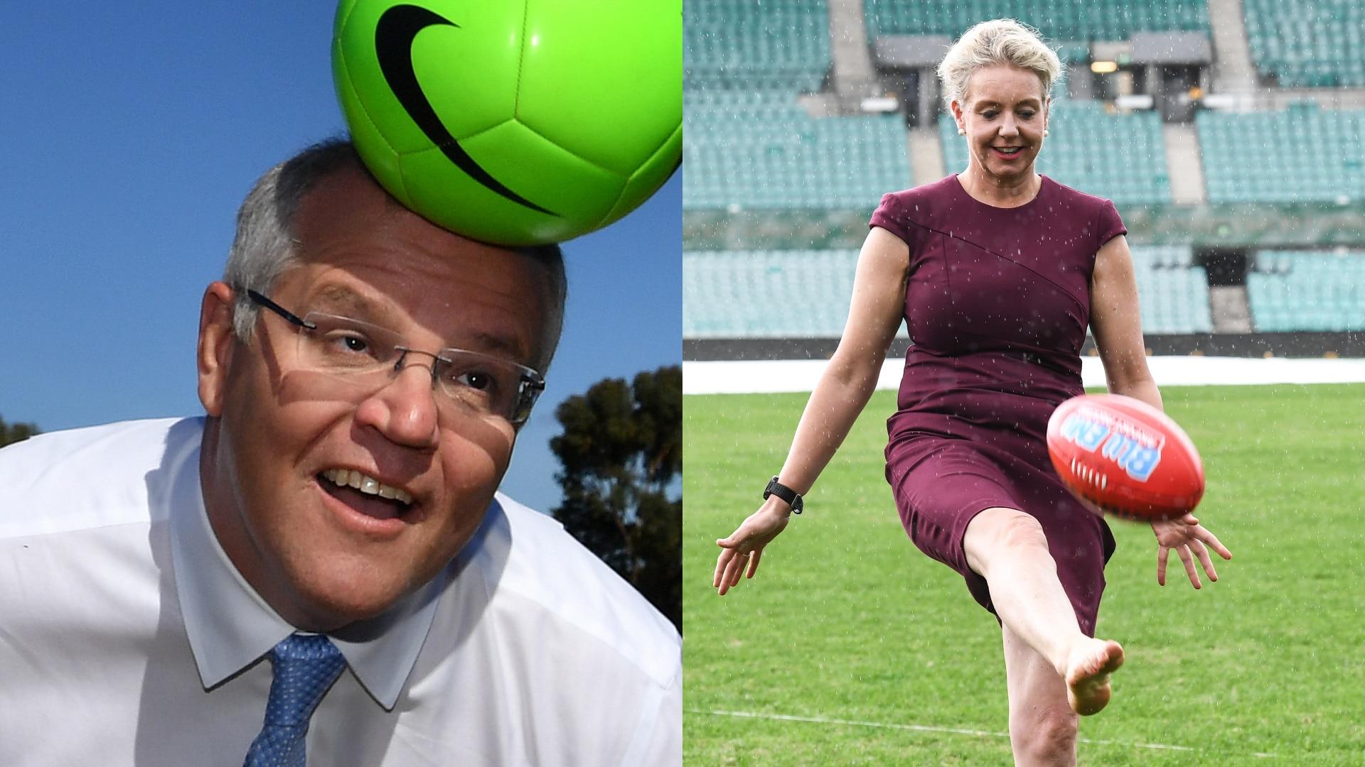Scott Morrison heads a ball in 2019 (left), Senator Bridget McKenzie kicks an AFL ball in 2019 (right).