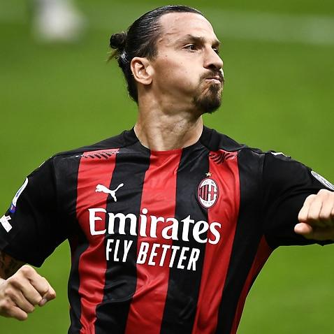 Zlatan Ibrahimovic celebrates a goal for AC Milan