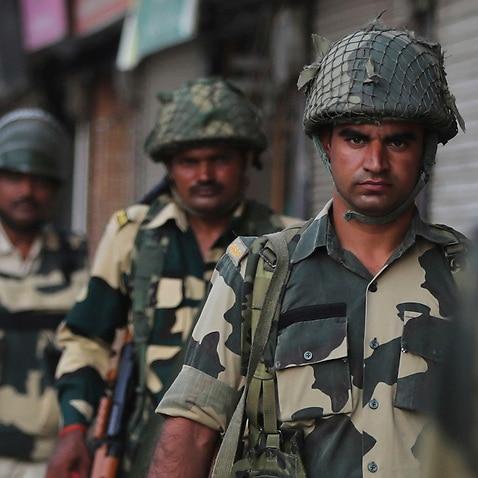 Indian soldiers patrol in Srinagar, India, Sunday, Aug. 4, 2019.