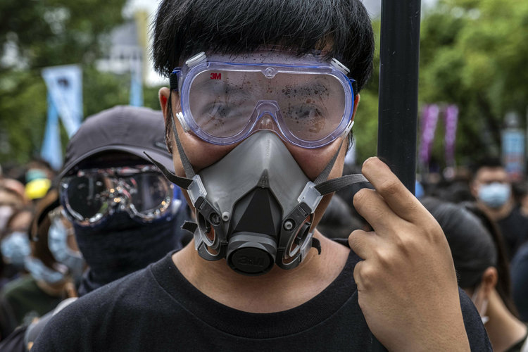 A Hong Kong protester on the streets during the recent clashes with security forces.