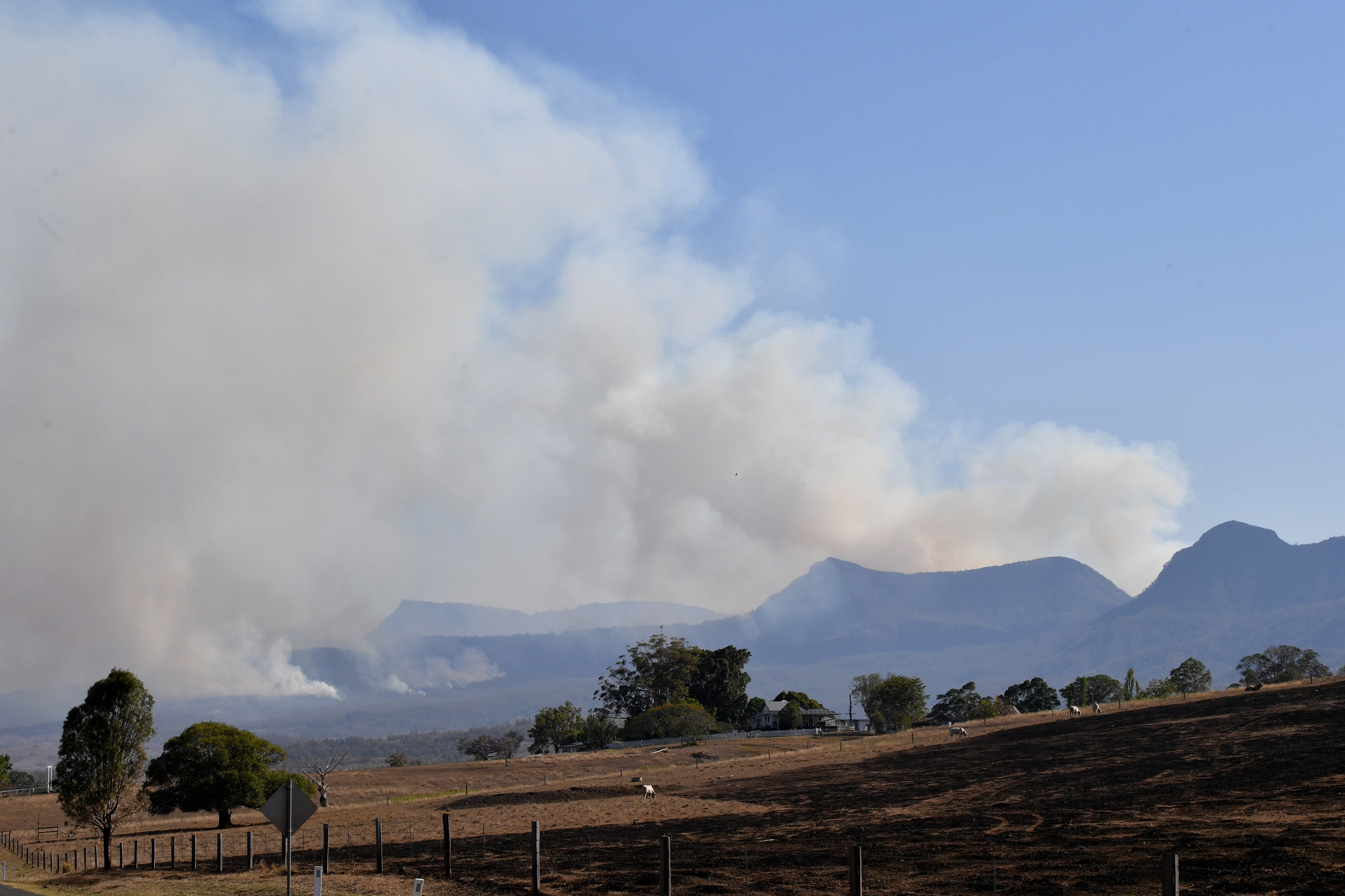 Fires are seen burning in the Main Range National Park near Tarome, south west of Brisbane.