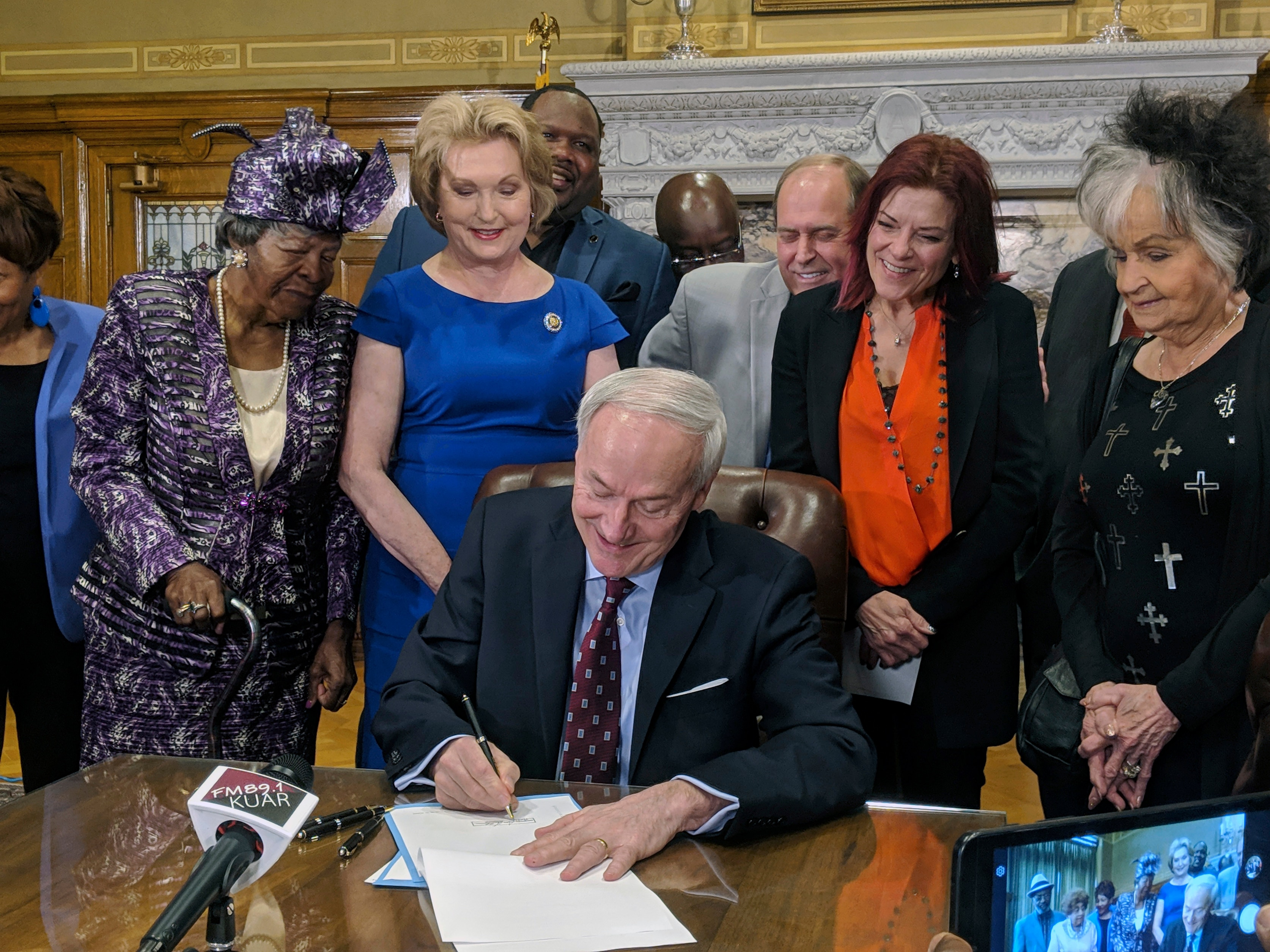 Arkansas Governor Asa Hutchinson signs a bill into law that replaces the states two statues with statues of civil rights leader Daisy Bates and Johnny Cash.
