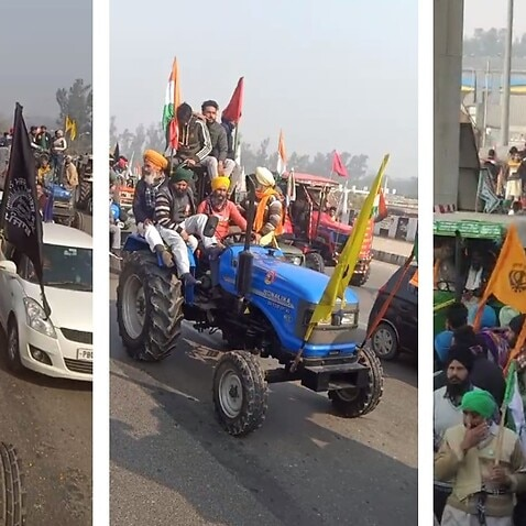 Indian farmers' tractor march at Delhi on 26 January.