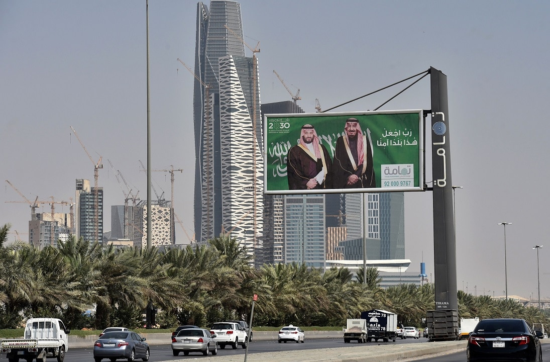Portraits of Saudi King Salmanand, right, and his son Crown Prince Mohammed bin Salman (MBS) can be seen in Riyadh ahead of the summit.