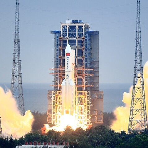 A Long March-5B Y2 rocket carrying the core module of China's space station, Tianhe, blasts off from the Wenchang Spacecraft Launch