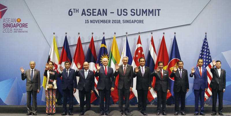 US Vice-President Mike Pence poses for a group photo with ASEAN leaders prior to the start of the ASEAN-US Summit.