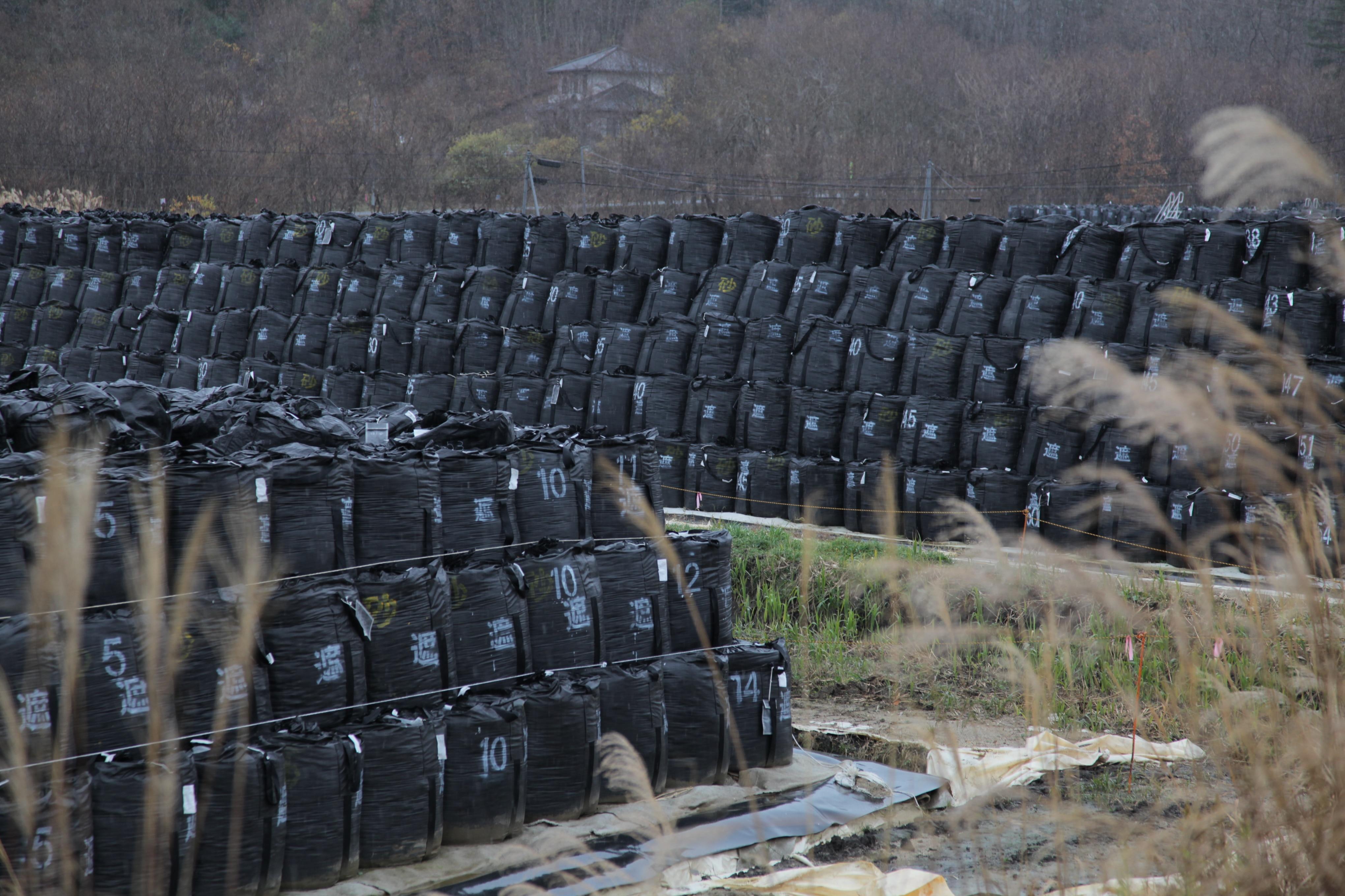 Radioactive top soils removed from Iitate village Fukushima