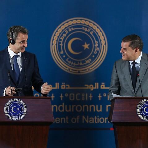 Mitsotakis with Libya's interim prime minister Abdul Hamid Dbeibah