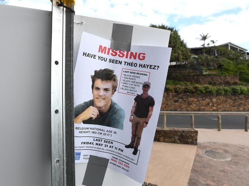 A missing persons flyer for backpacker Theo Hayez