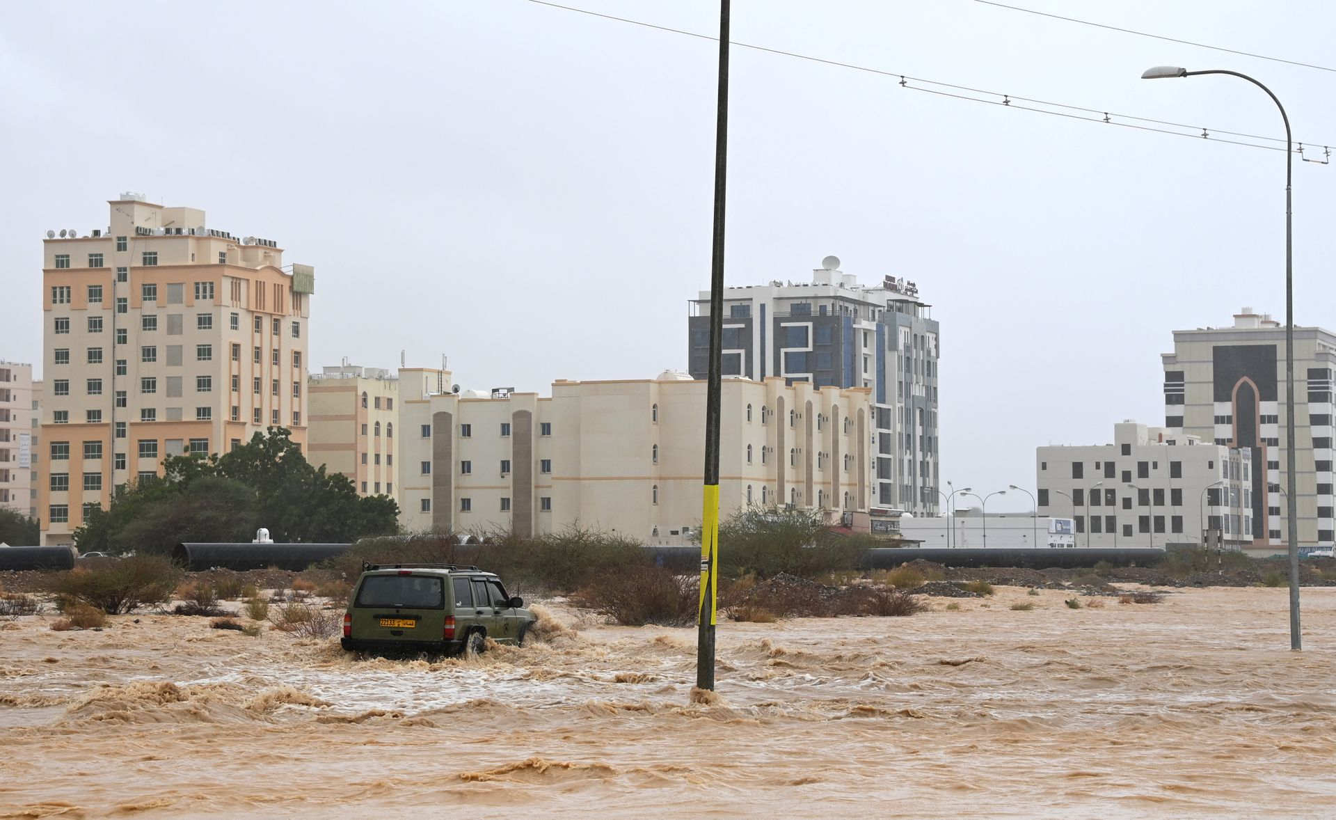 Flooded streets are seen as Cyclone Shaheen makes landfall in Muscat, Oman, 3rd October, 2021.