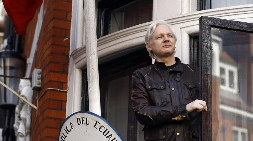 Assange in the Ecuadorian embassy.