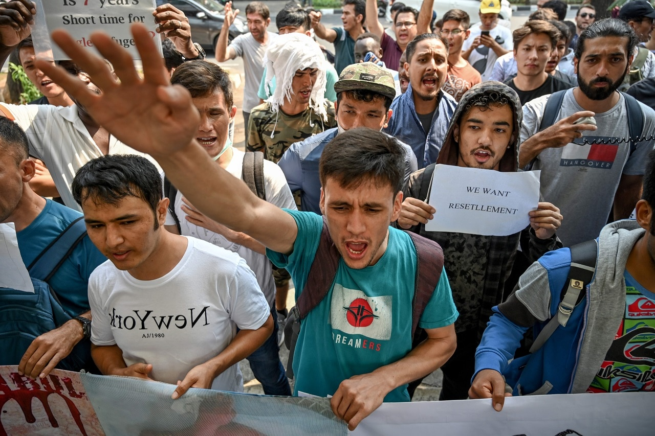 Refugees from various countries hold a rally in Jakarta.
