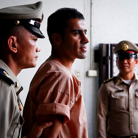 Hakeem Al-Araibi escorted by Thai prison officers on Monday.