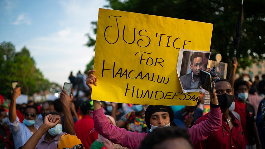 Protesters in the United States voice their outrage at events in Ethiopia.