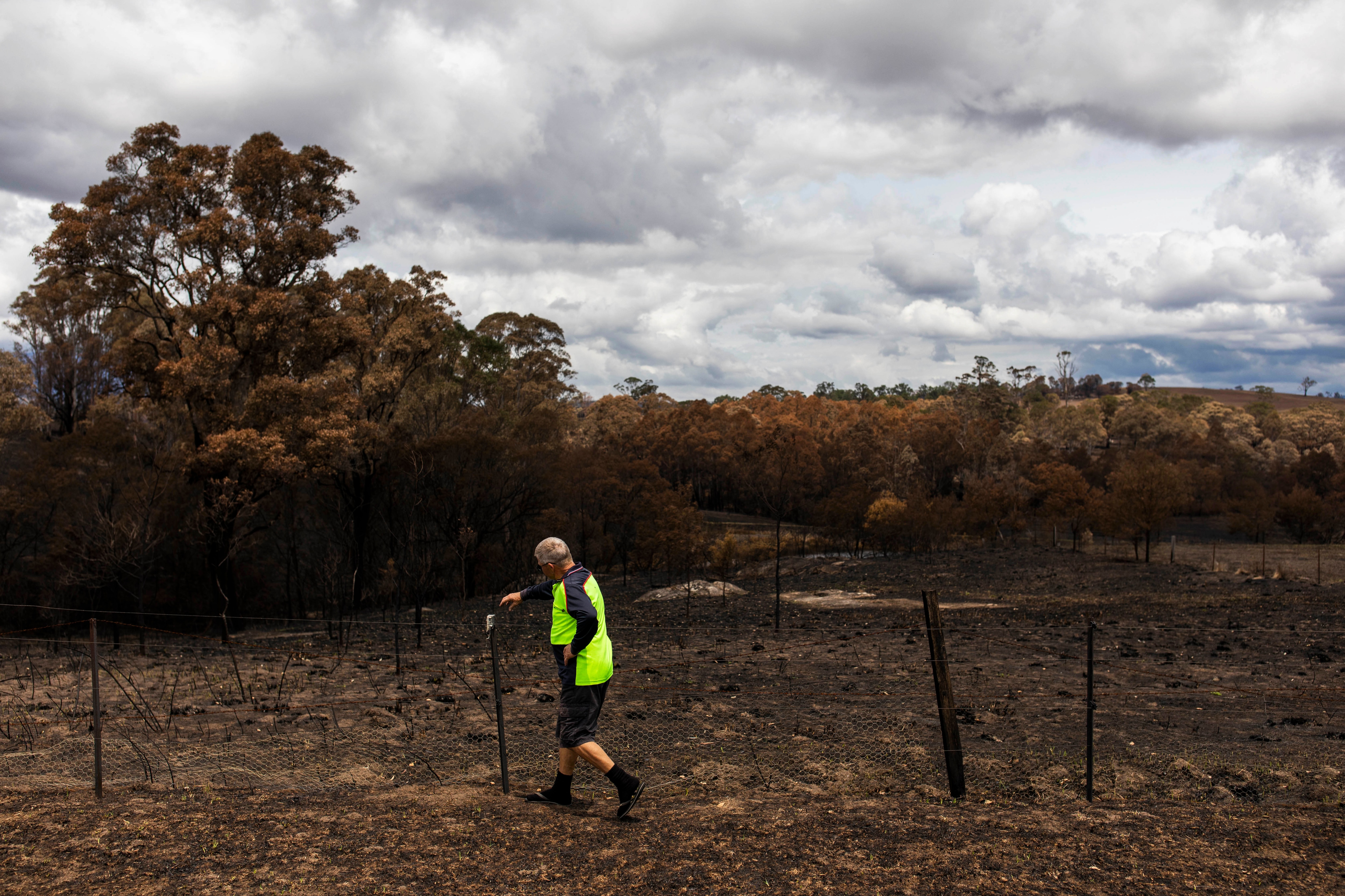 Lawrence (pictured) and Tracey Goodheart stayed to protect their home in Verona, NSW.