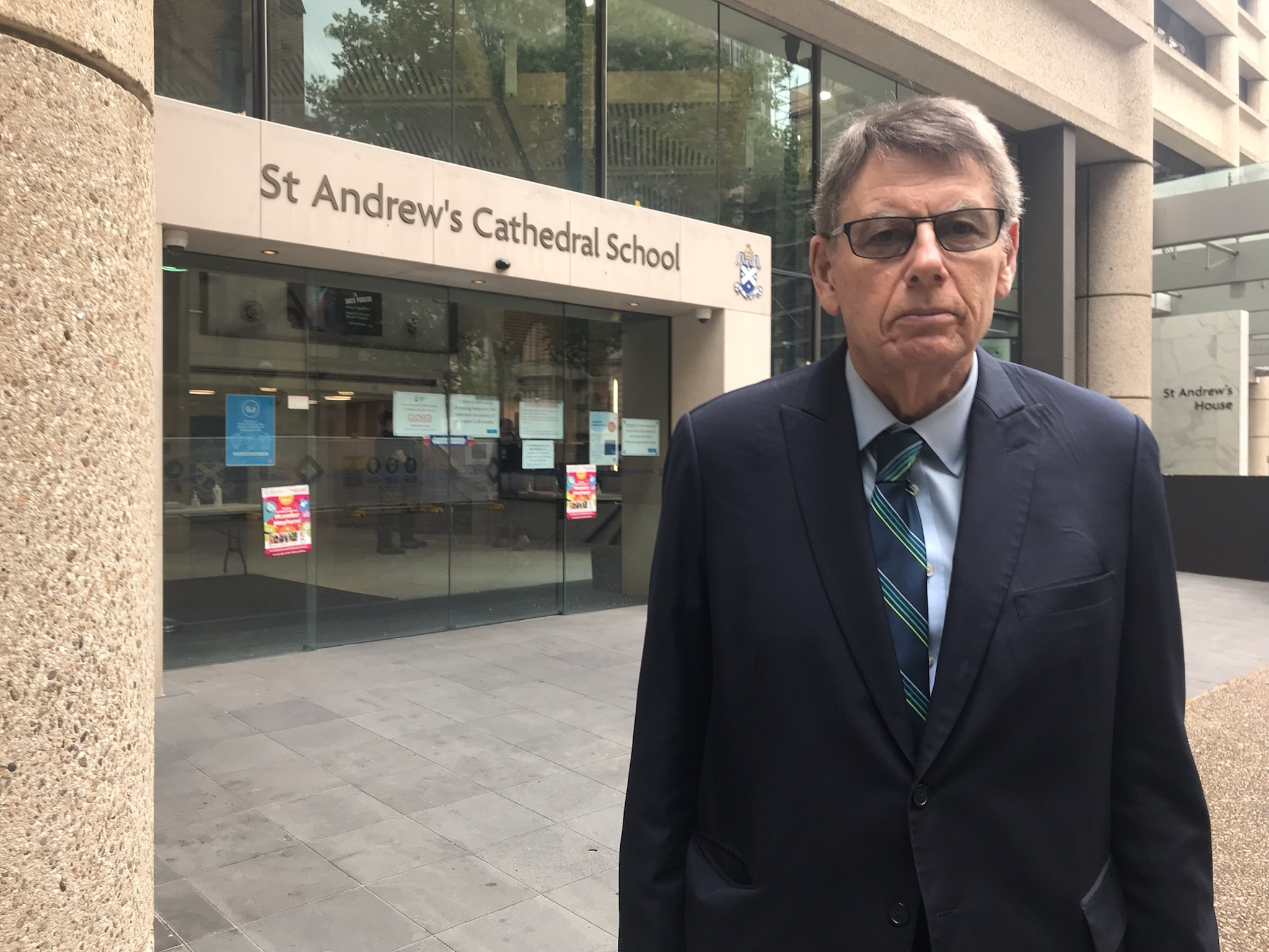 Dr John Collier outside St Andrews Cathedral School in Sydney