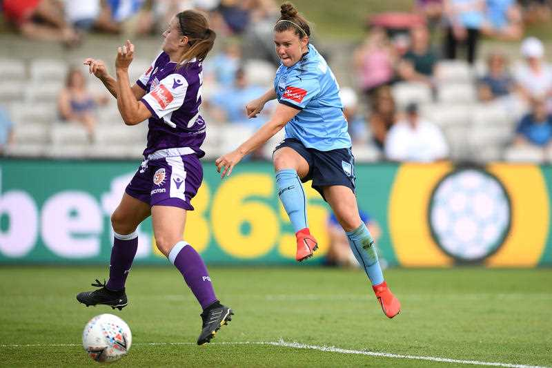 Savannah McCaskill of Sydney scores a goal during the W-League grand final between Sydney FC and Perth Glory.