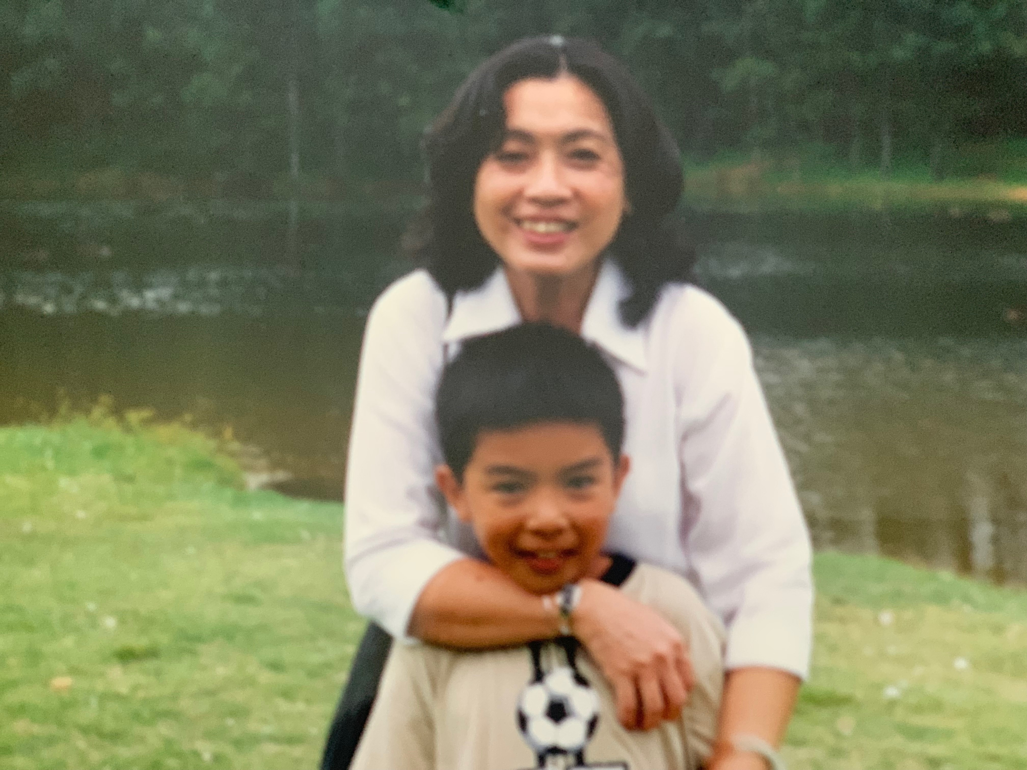 Bich Thuy Pham with her son in her earlier days in Australia.
