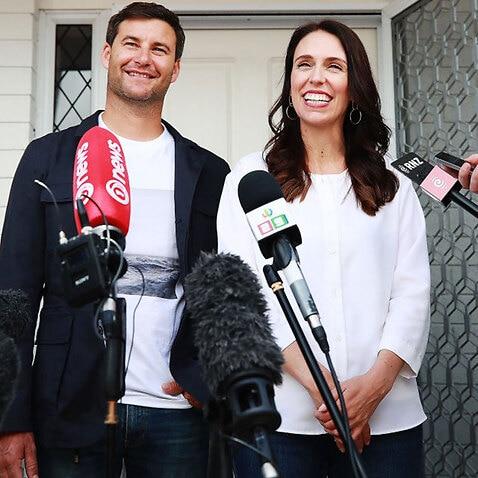 Prime Minister Jacinda Ardern and her partner Clarke Gayford speak to the media January 19, 2018 in Auckland, New Zealand.