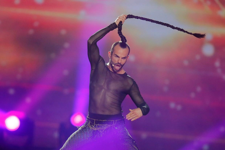 Slavko Kalezic performing at the Eurovision Song Contest, in Kiev in 2017.
